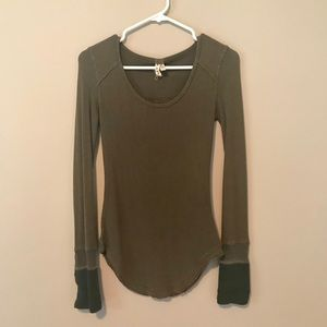 Free People Army Green Long Sleeve Top